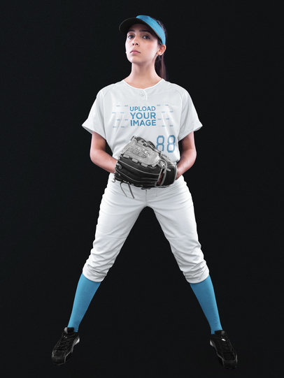 Custom Softball Jerseys - Girl with Glove a16693