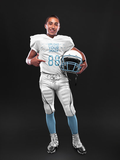 Custom Football Jerseys - Cool Dude Wearing a Football Uniform A16716