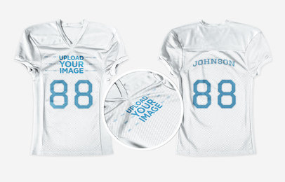 Custom Football Jerseys - Jersey Front and Back Against Solid Backdrop a16742