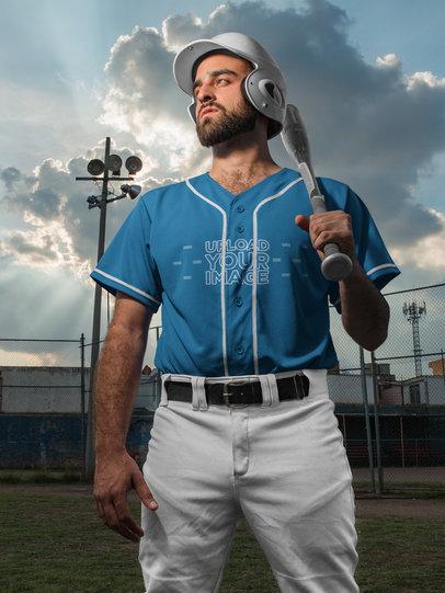 Baseball Uniform Builder - Dramatic Portrait of a Man at the Field a16770