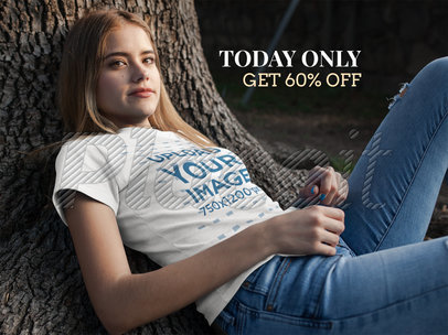 Facebook Ad - Pretty Girl Wearing T-Shirt While Lying Against a Tree a16281