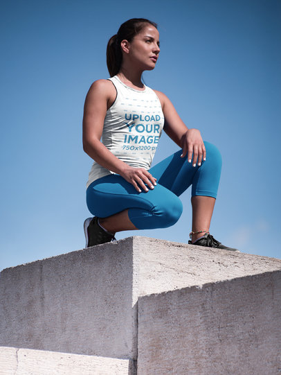 Mockup of a Woman on Epic Pose Wearing Custom Workout Clothes a16788