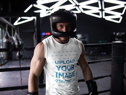 Mockup of a Man Getting Ready to Spar While Wearing Custom Activewear a16805