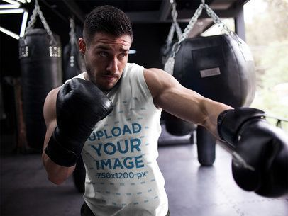Template of a Man Doing Shadowboxing While Wearing Custom Sportswear a16804