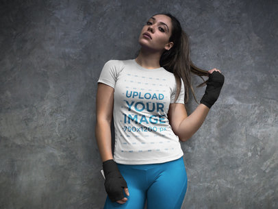 Woman at the Locker Room Wearing Custom Sportswear Mockup and Boxfit Hand Gloves a16843