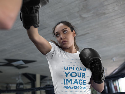 Woman Sparring at the Gym While Wearing Custom Sportswear Mockup a16832