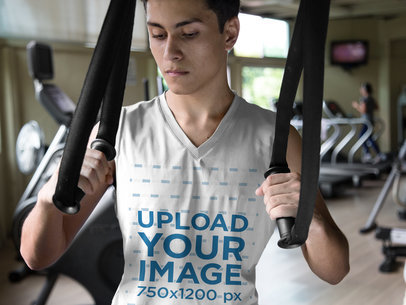 Closeup Mockup of a Teen Boy Wearing Custom Sportswear at the Gym a16857
