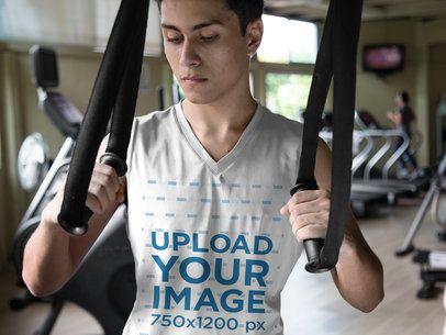Closeup Mockup of a Teen Boy Wearing Custom Sportswear at the Gym a16857