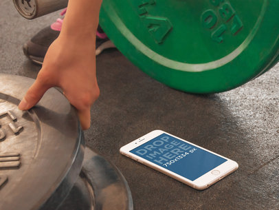 Girl Using iPhone 6 Gym Workout