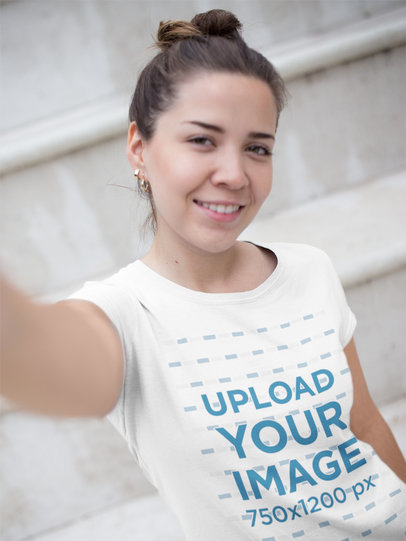 Woman Taking a Morning Selfie While Wearing a Round Neck Tee Mockup a16912