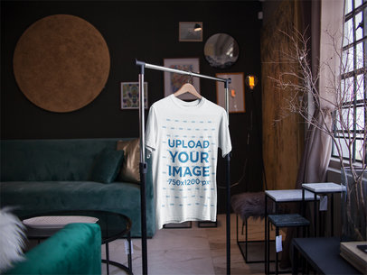 T-Shirt Mockup on a Hanger Inside a Nice Room a16948