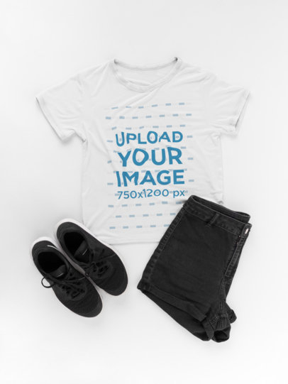 Flat Lay T-Shirt Mockup with Black Shorts and Shoes 16959