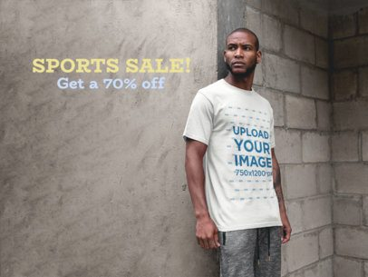 Facebook Ad - Man Leaning Against Concrete Wall While Wearing a T-Shirt a16901