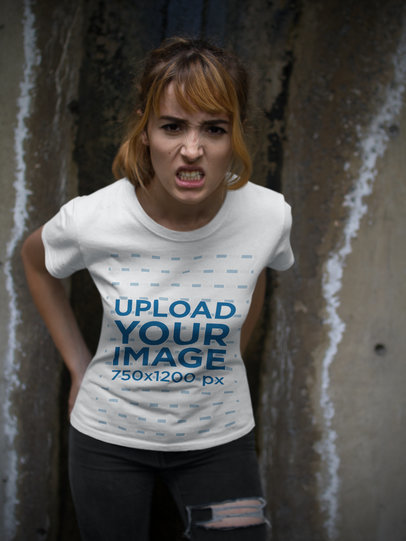 Mockup of a Girl Wearing a Halloween T-Shirt While Making an Angry Face a17104