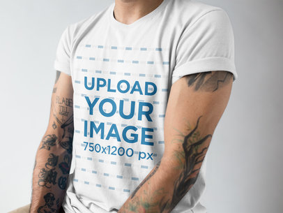 Cropped Face Man Wearing a Rolled Up Sleeves T-Shirt Mockup a17017