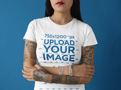 Cropped Face Girl Wearing a Round Neck Tshirt Mockup While Standing Against a Solid Background a17179