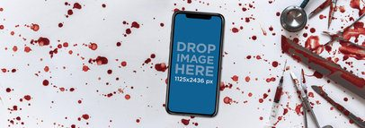 Halloween iPhone X Mockup on a Butcher Surgery Table a17374