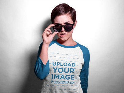 Girl with Sunglasses Wearing a Raglan Tshirt Mockup in a Studio a17538