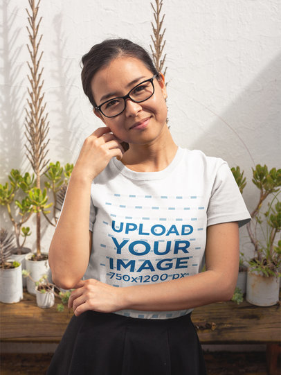 Pretty Girl Wearing a Round Neck Tee Mockup While in her Backyard a17600