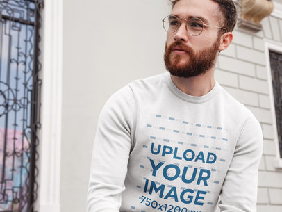 Hipster Man Wearing a Crewneck Sweatshirt Template While Waiting for a Friend a17724