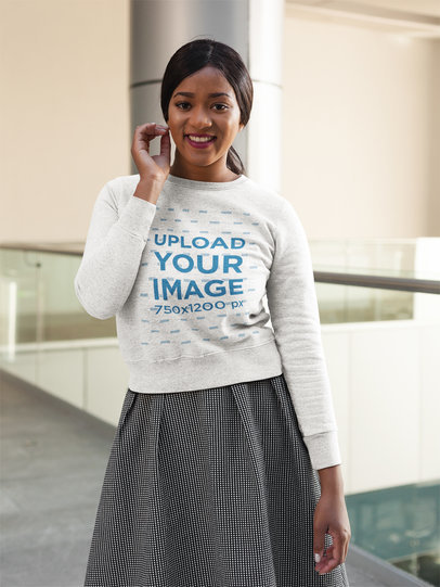Pretty Black Girl Wearing a Crew Neck Sweatshirt Template While at a Mall a17749