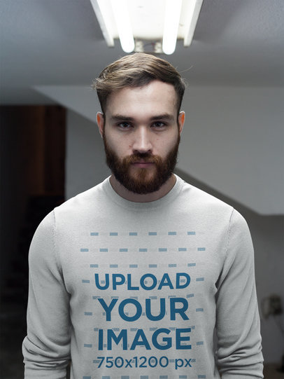 Front Shot of a Redhaired Man Wearing a Crewneck Sweatshirt Template a17736