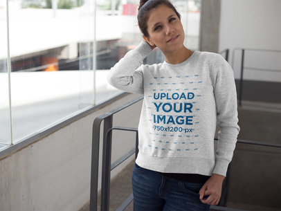 Pretty Girl Wearing a Crew Neck Sweatshirt Template a17637