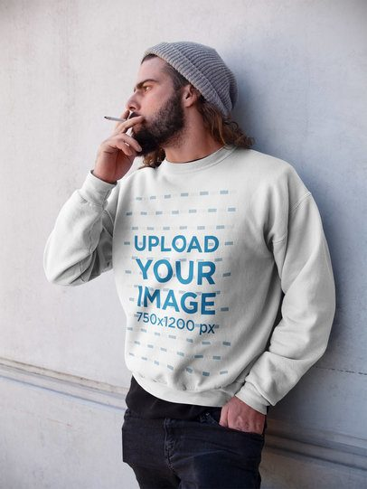 Long Haired Man Wearing a Crewneck Sweatshirt Template While Smoking a17766