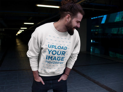Laughing Man Wearing a Crewneck Sweatshirt Template a17768