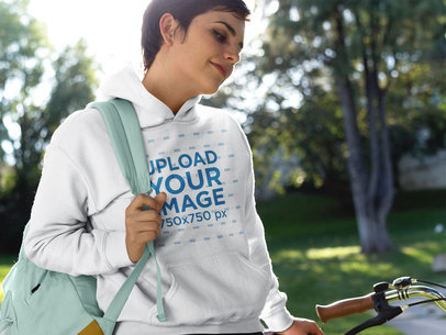 Girl on a Bike Wearing a Pullover Hoodie Template a17933