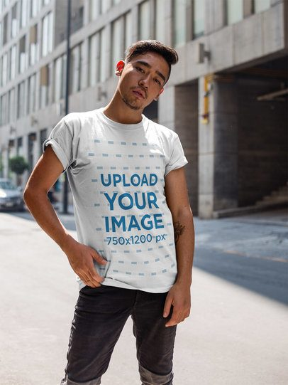 Asian Dude Wearing a Round Neck Tee Template While in the Street a17802