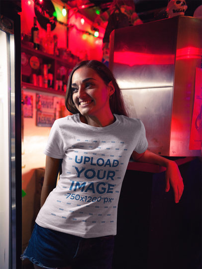 Girl Smiling at a Party Wearing a Tshirt Mockup a17969