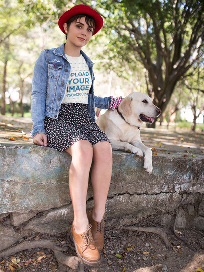 Pretty Girl with her Dog Wearing a Tshirt Mockup a17982