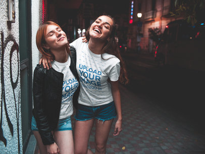 Two Girls Getting out of a Party Wearing T-Shirts Mockup a17971