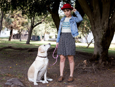 Hipster Girl Wearing a TShirt Mockup while Walking her Dog a17980