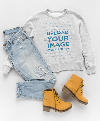 Mockup Featuring a Flat Lay of a Sweatshirt Outfit a17958