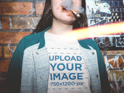 Mockup of a Smoker Woman Wearing a Crewneck Sweater Mockup Against a Dirty Wall a18850