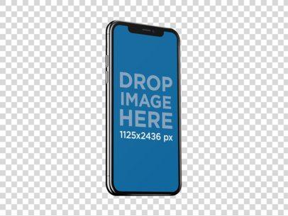 Angled Jet Black iPhone X Mockup Against a Transparent Backdrop a13792