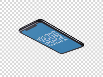 iPhone X Mockup Lying Angled Backwards on a Transparent Surface a14112