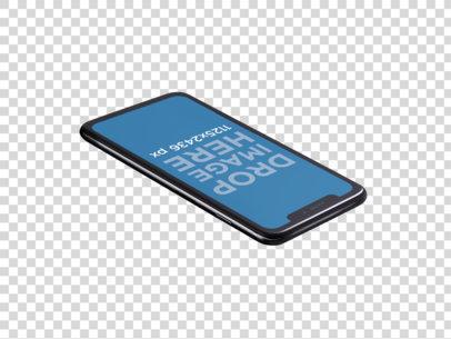 iPhone X Mockup Lying Angled Backwards on a Transparent Surface a14112