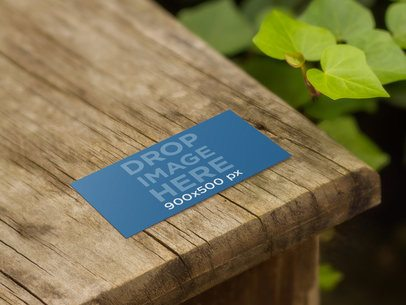 Business Card In Wooden Table