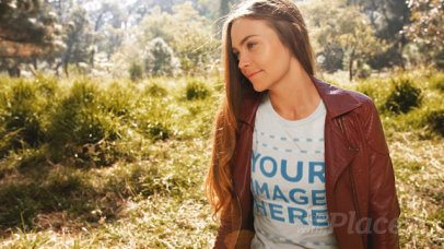 Young Girl Wearing a T-Shirt Cinemagraph and Leather Jacket While Outdoors a13309