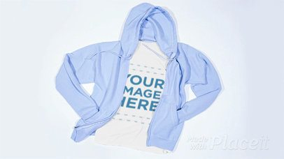 Stop Motion of a Round Neck Tee With a Hoodie Moving On It a13269