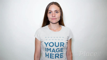 Stop Motion of a Woman Wearing a Round Neck Tee in a Studio a13313