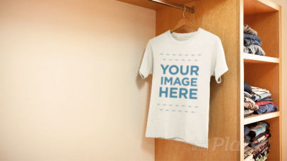 T-Shirt Moving on a Hanger Stop Motion in a Closet a13857