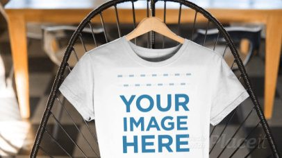 Closeup T-Shirt Mockup Video of a Round Neck Tee on a Cool Chair a13136-122616b