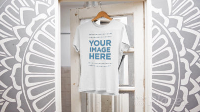 Simple T-Shirt Video Mockup Hanging Over a Closet Door Closing a13139