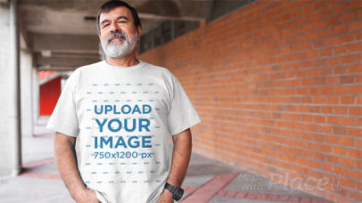 Video of an Elder Man with a Beard Wearing a Round Neck T-Shirt a12765