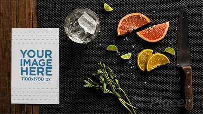 Stop Motion of a Flyer Lying on a Table While Fruits and Ice are Dancing a13724