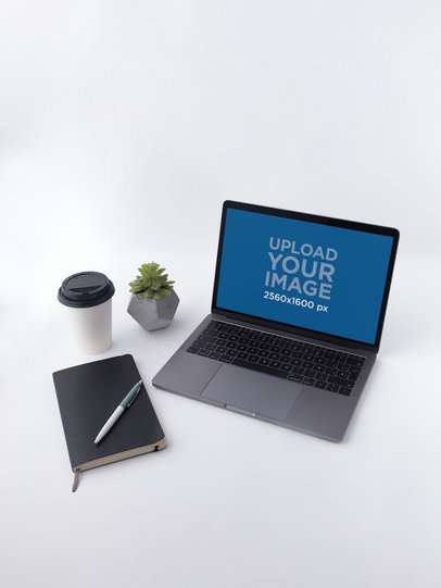 13 Inch Macbook Pro Space Gray Mockup Stationery Workspace 19527a